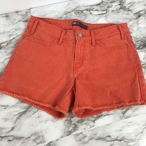 Levi's Women Orange Denim Cut Off Mid Rise Shorts